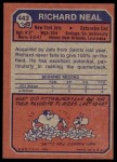 1973 Topps #443  Richard Neal  Back Thumbnail