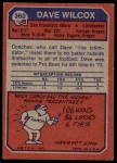 1973 Topps #360  Dave Wilcox  Back Thumbnail