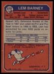 1973 Topps #370  Lem Barney  Back Thumbnail
