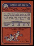 1973 Topps #377  Bobby Joe Green  Back Thumbnail