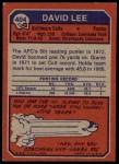 1973 Topps #404  David Lee  Back Thumbnail