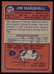 1973 Topps #406  Jim Marshall  Back Thumbnail