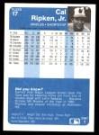 1984 Fleer #17  Cal Ripken Jr.  Back Thumbnail