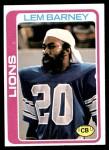 1978 Topps #82  Lem Barney  Front Thumbnail