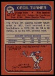 1973 Topps #494  Cecil Turner  Back Thumbnail