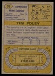 1974 Topps #38  Tim Foley  Back Thumbnail