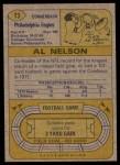 1974 Topps #73  Al Nelson  Back Thumbnail