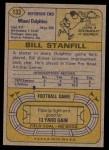 1974 Topps #133   -  Bill Stanfill All-Pro Back Thumbnail