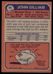 1973 Topps #85  John Gilliam  Back Thumbnail