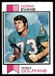 1973 Topps #188  Norm Evans  Front Thumbnail