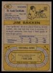 1974 Topps #60  Jim Bakken  Back Thumbnail