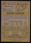 1974 Topps #253  Jerome Barkum  Back Thumbnail