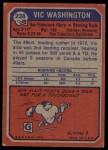 1973 Topps #238  Vic Washington  Back Thumbnail