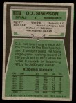 1975 Topps #500  O.J. Simpson  Back Thumbnail