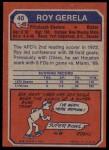 1973 Topps #40  Roy Gerela  Back Thumbnail