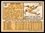 1963 Topps #488  Jerry Adair  Back Thumbnail