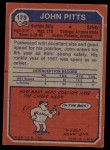 1973 Topps #178  John Pitts  Back Thumbnail