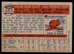 1957 Topps #343  Taylor Phillips  Back Thumbnail