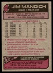 1977 Topps #372  Jim Mandich  Back Thumbnail