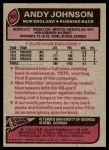1977 Topps #401  Andy Johnson  Back Thumbnail