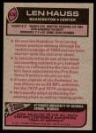 1977 Topps #478  Len Hauss  Back Thumbnail