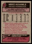 1977 Topps #481  Mike Adamle  Back Thumbnail