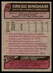 1977 Topps #366  Gregg Bingham  Back Thumbnail