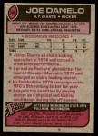1977 Topps #346  Joe Danelo  Back Thumbnail