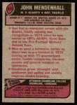 1977 Topps #435  John Mendenhall  Back Thumbnail