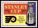 1974 Topps #250   Flyers Stanley Cup Front Thumbnail