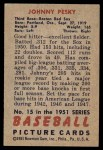 1951 Bowman #15  Johnny Pesky  Back Thumbnail