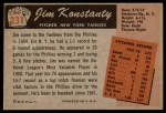 1955 Bowman #231  Jim Konstanty  Back Thumbnail