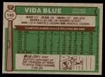 1976 Topps #140  Vida Blue  Back Thumbnail