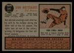1962 Topps #541  Don Nottebart  Back Thumbnail