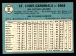 1965 Topps #57   Cardinals Team Back Thumbnail