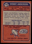1973 Topps #485  Donny Anderson  Back Thumbnail