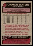 1977 Topps #15  Charlie Waters  Back Thumbnail