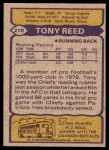1979 Topps #278  Tony Reed  Back Thumbnail