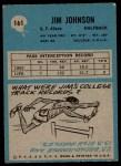 1964 Philadelphia #161  Jimmy Johnson  Back Thumbnail