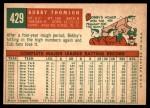 1959 Topps #429  Bobby Thomson  Back Thumbnail
