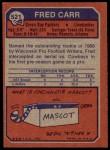 1973 Topps #521  Fred Carr  Back Thumbnail