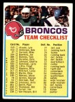 1973 Topps  Checklist   Broncos Front Thumbnail