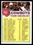 1973 Topps  Checklist   Cowboys Front Thumbnail