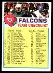 1973 Topps  Checklist   Falcons Front Thumbnail