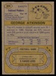 1974 Topps #384  George Atkinson  Back Thumbnail
