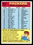 1974 Topps  Checklist   Green Bay Packers Team Front Thumbnail