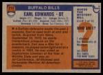 1976 Topps #213  Earl Edwards  Back Thumbnail