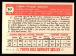 1952 Topps REPRINT #347  Joe Adcock  Back Thumbnail