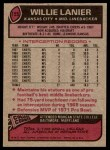 1977 Topps #155  Willie Lanier  Back Thumbnail