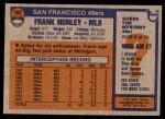 1976 Topps #182  Frank Nunley  Back Thumbnail